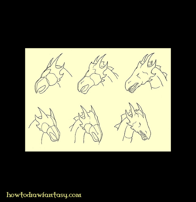 How to draw a dragon head. Fantasy art drawing tutorial on a dragon head