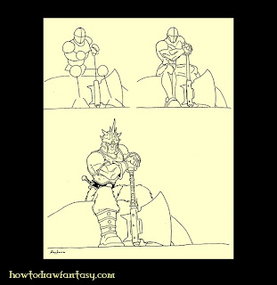 How to draw a barbarian step by step in the tradition of Lord of the rings, Dungeons and Dragons, Warhammer, Conan the barbarian, or other fantasy and sword and sorcery themes.