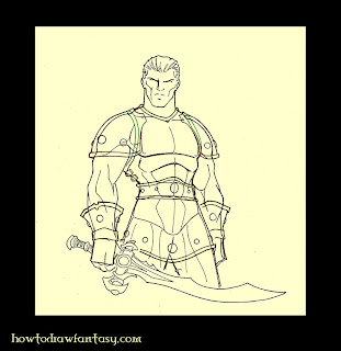 How to draw fantasy. Armour drawing tutorial. Warrior and sword.