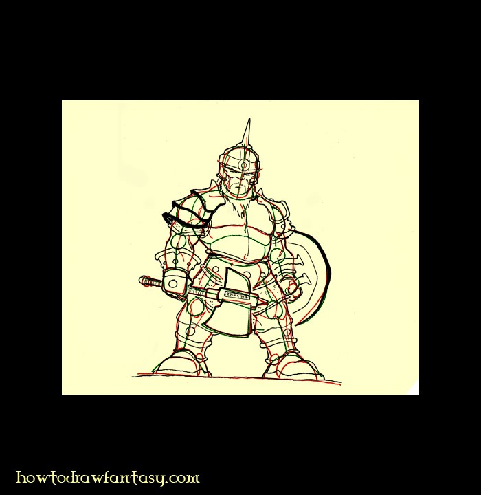 How to draw a guard dwarf with armor, battle axe, horned helm and