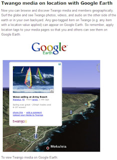 Twango content in Google Earth