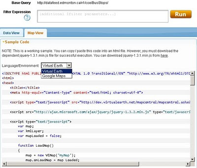 drop-down Language Environment reveals Google Maps API source code.