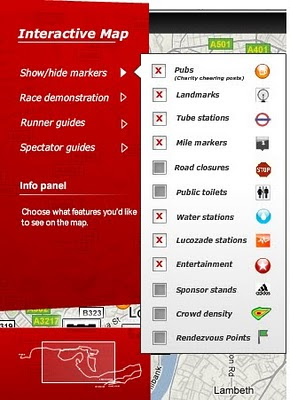 London Marathon Map 2010 - Legend