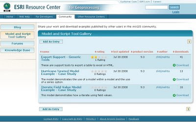 ESRI Geoprocessing Center Models & Scripts