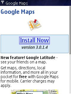 Google Maps Mobile version 3.0.1.4