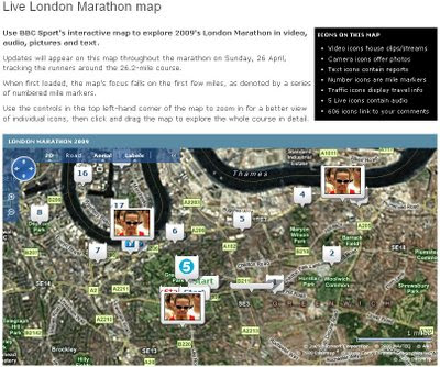 BBC Sport London Marathon Map 2009 - Virtual Earth