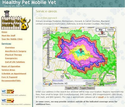 Healthy Pet Mobile Service Areas Google Maps API