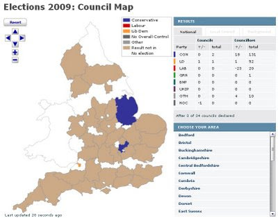 England & Wales Live Elections Map June 2009