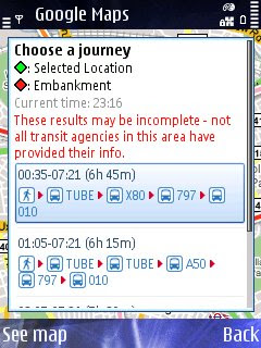 Google Maps Mobile - Transit Layer