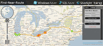 Windows Azure SQL 2008 Bing Maps Find Near a Route