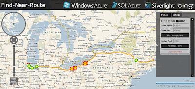 Windows Azure SQL 2008 Bing Maps Find Near a Route