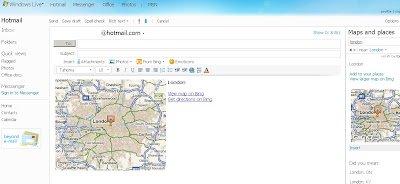 Bing Maps in Hotmail