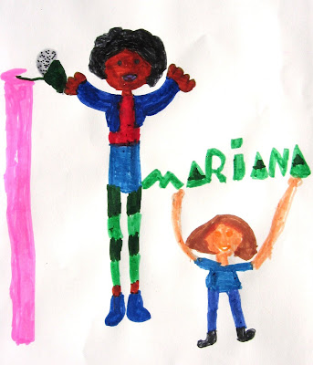 desenho de uma menina e de um cantor
