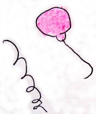 Desenho de balão e serpentina