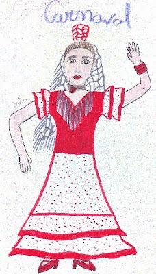 Desenho de uma menina mascarada de espanhola
