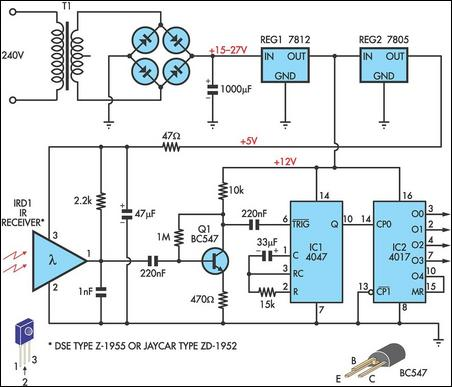 Infrared remote receiver has four outputs circuit schematic
