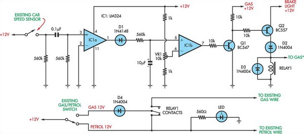Petrol gas switch for a Pajero circuit schematic