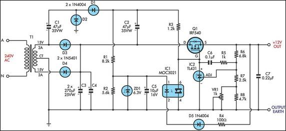 Ultra low drop linear voltage regulator circuit schematic