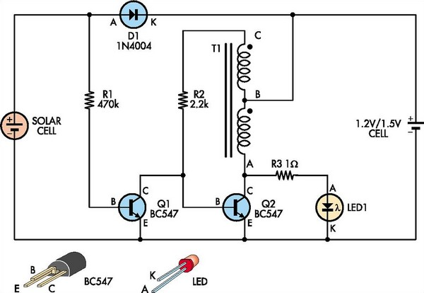 Automatic white-LED garden light circuit schematic