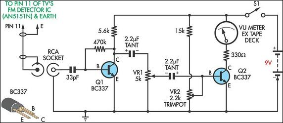 TV relative signal strength meter circuit schematic