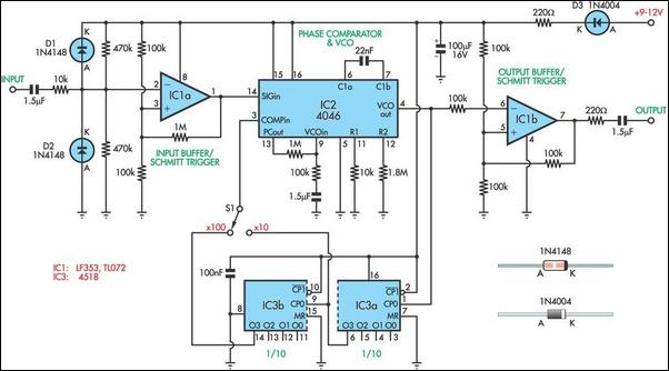 Frequency multiplier for LF measurements circuit schematic