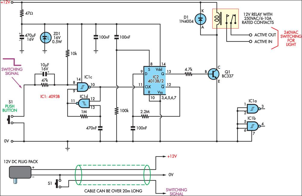 remote mains switch low voltage circuit and explanation electronic rh alectronicscircuits blogspot com Basic Wiring Schematics Refrigerator Schematic Diagram