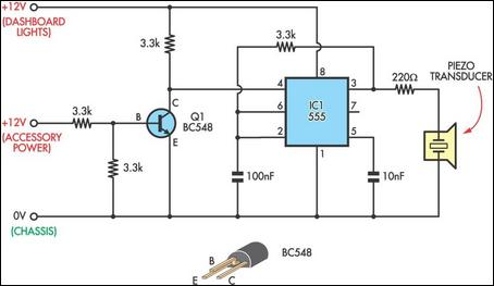 Headlight Reminder circuit schematic