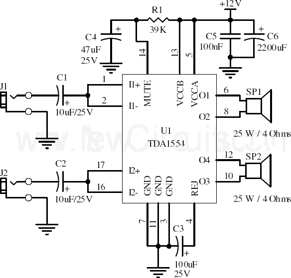 tda1554 22w stereo amplifier circuit and explanation