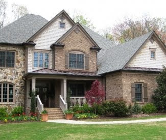 The thrifty gypsy exterior decisions for Mixing brick and stone exterior