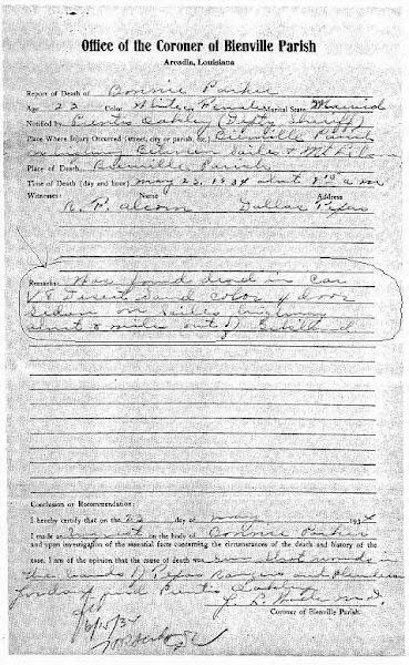 Bonnie Parker's autopsy report