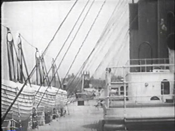 Lifeboats on Titanic deck before disaster