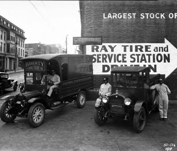 Two Haverty Furniture Co. delivery trucks. 1927. Asheville, NC