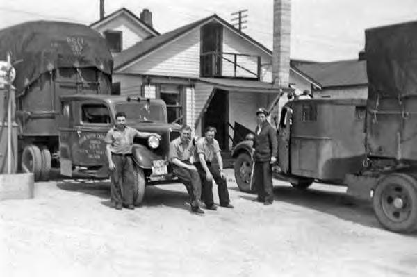 Akron Motor Cargo Co. Trucks. Ambert Cronick (3rd from left) 1938