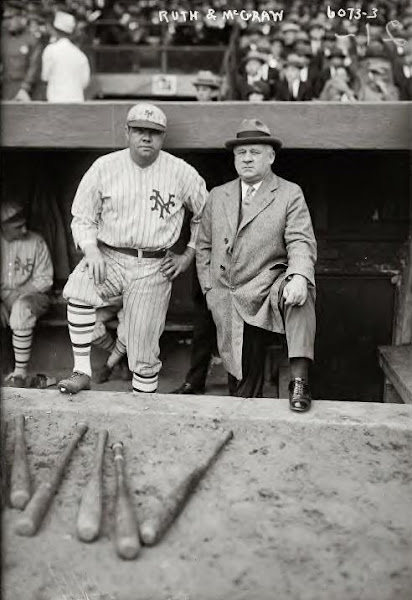 Babe Ruth with Giants manager John McGraw. 10-3-1923