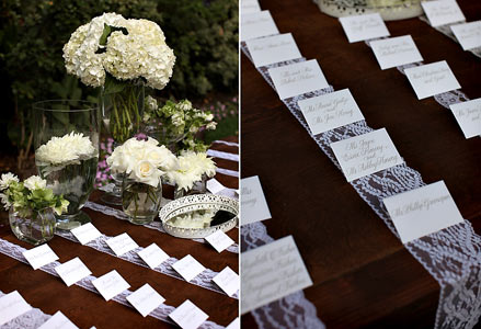 Steal this wedding idea runners of lace on your table cloth would add