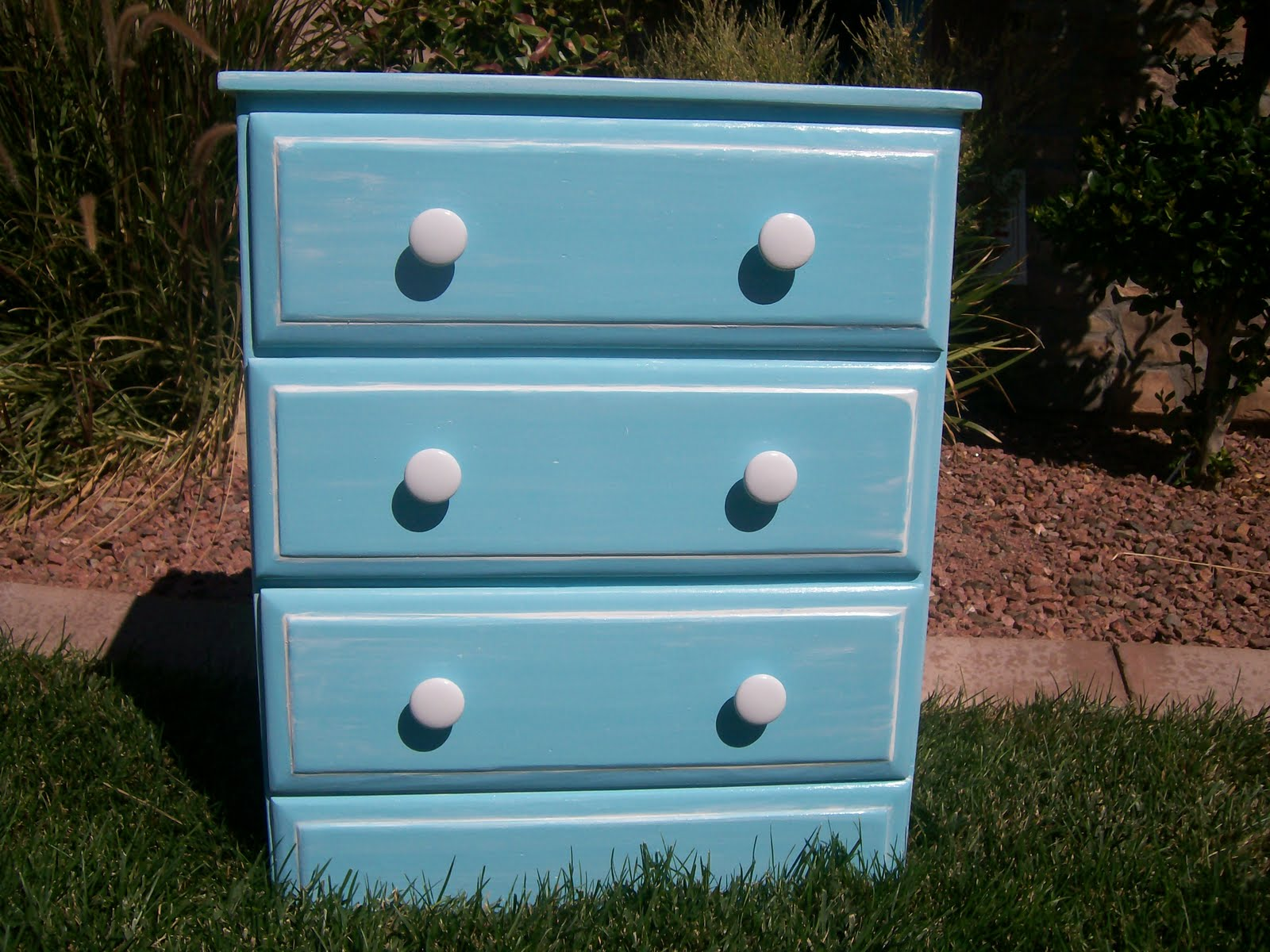 Doubletake Decor Teal dresser or nightstand with mirror