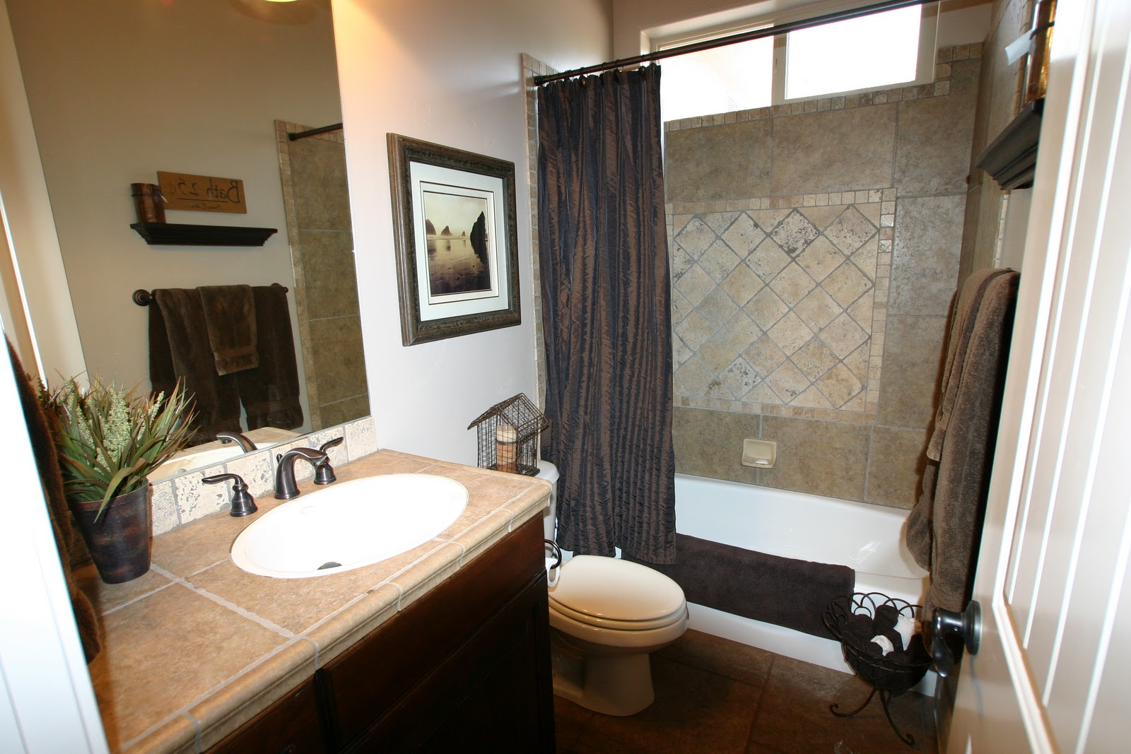Doubletake decor projects in the works for Blue and brown bathroom designs