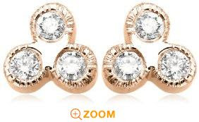 14k Rose, Yellow, or White Gold Milgrain 3-Stone Diamond Bezel Set Stud Earrings (.18 cttw, J Color, I2 Clarity)