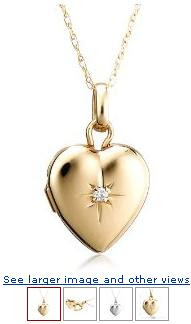 14k White or Yellow Gold Diamond Heart Locket (.01 cttw, J Color, I2 Clarity), 18