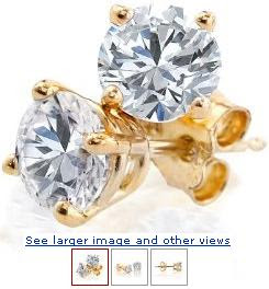14K Yellow Gold Round Diamond 4-Prong Stud Earrings (3/8ctw, J-K, I2-I3) :  woman diamond design designer