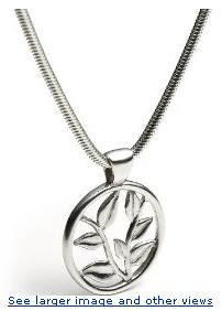  Sterling Silver Round Hana Design Pendant, 17