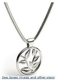 Sterling Silver Round Hana Design Pendant, 17