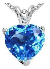 2.02 cts Genuine Blue Topaz and Diamond Heart Pendant - 14kt White or Yellow Gold