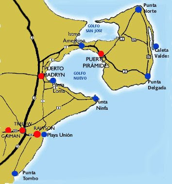 Far South Travels Whale Season - Argentina map puerto madryn