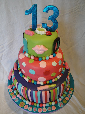 7 Year Old Birthday Cakes http://queenoftartscakes.blogspot.com/2010/03/13-year-old-girls-colorful-birthday.html#!