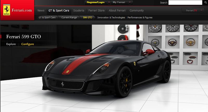 fERRARI cONFIGURATOR 1 New Ferrari 599 GTO Configurator released