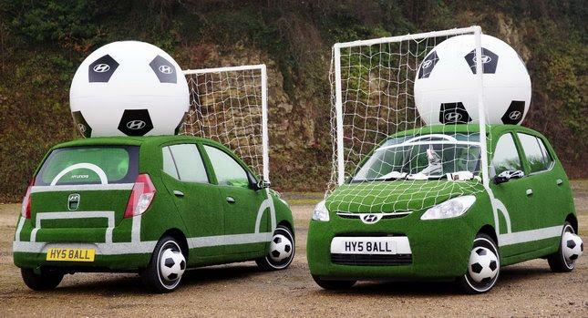 Hyundai i10 Football Cars 0 Hyundai Kicks Off Countdown to 2010 World Cup with i10 Football Themed Cars Photos