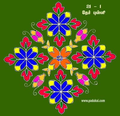 Tamil Nadu Dot Patter Flower Kolam for Pongal