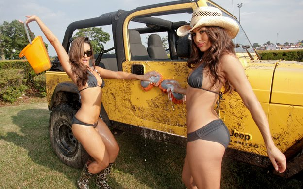 Sexy Car Wash Images of famous twin Divas, Nilli Bella and Brie Bella ...