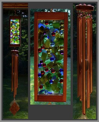 wind chime, mixed media, glass, copper, marbles